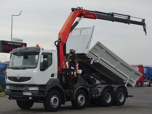 camião basculante RENAULT KERAX 450 DXI / 8X4 / 2 SIDED KIPPER / BORTMATIC + CRANE PALFING